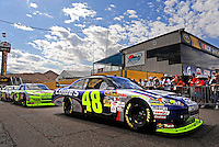 Nov. 13, 2009; Avondale, AZ, USA; NASCAR Sprint Cup Series driver Jimmie Johnson during practice for the Checker O'Reilly Auto Parts 500 at Phoenix International Raceway. Mandatory Credit: Mark J. Rebilas-