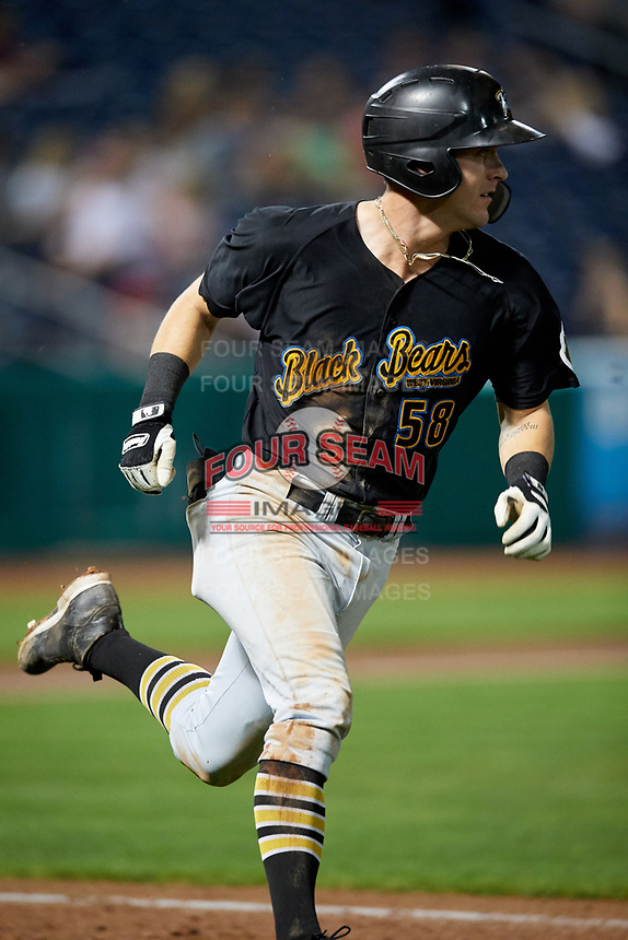 West Virginia Black Bears first baseman Kyle Watson (58) runs to first base during a game against the State College Spikes on August 30, 2018 at Medlar Field at Lubrano Park in State College, Pennsylvania.  West Virginia defeated State College 5-3.  (Mike Janes/Four Seam Images)