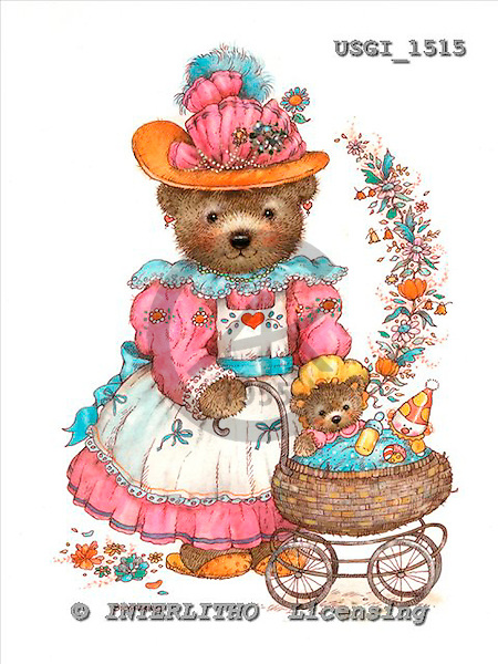 GIORDANO, CUTE ANIMALS, LUSTIGE TIERE, ANIMALITOS DIVERTIDOS, Teddies, paintings+++++,USGI1515,#AC# teddy bears