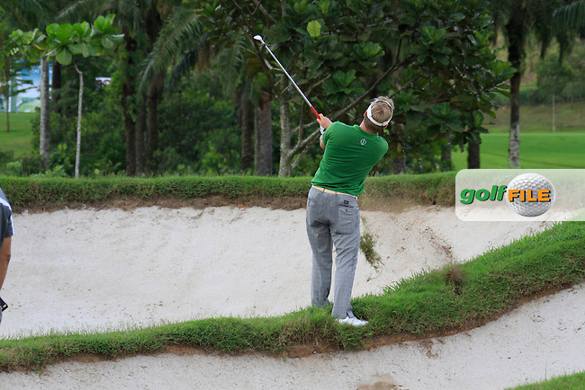Pelle Edberg (SWE) plays his drop shot out of a bunker on the 11th hole during Thursday's Round 1 of the 2011 Iskandar Johor Open, Horizon Hills Golf Club, Johor, Malaysia, 15th November 2011 (Photo Eoin Clarke/www.golffile.ie)
