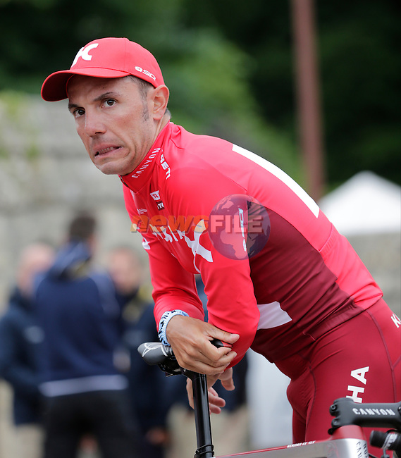 Joaquim Rodriguez (ESP) Team Katusha arrives for the team presentations before the start of the 2016 Tour de France, Sainte-Mere-Eglise, France . 30th June 2016.<br /> Picture: Eoin Clarke | Newsfile<br /> <br /> <br /> All photos usage must carry mandatory copyright credit (&copy; Newsfile | Eoin Clarke)