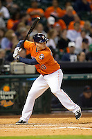 Houston Astros third baseman Matt Dominguez (30) at bat during the MLB baseball game against the Detroit Tigers on May 3, 2013 at Minute Maid Park in Houston, Texas. Detroit defeated Houston 4-3. (Andrew Woolley/Four Seam Images).