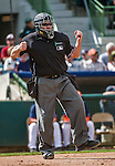 12 March 2014: MLB Umpire Gary Cederstrom makes a call at the plate during a Spring Training game between the Washington Nationals and the Houston Astros at Osceola County Stadium in Kissimmee, Florida. The Astros rallied in the bottom of the 9th to edge out the Nationals 10-9 in Grapefruit League play. Mandatory Credit: Ed Wolfstein Photo *** RAW (NEF) Image File Available ***