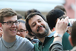 Lega nord leader's Matteo Salvini attends a meeting with Mario Tagnin in Bolzano, on May 5, 2016.