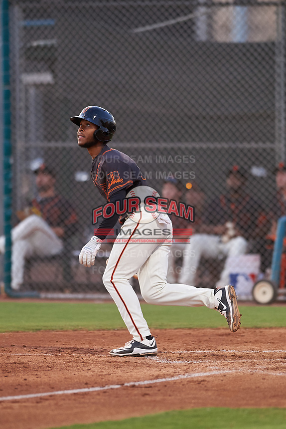AZL Giants Black Jairo Pomares (16) runs to first base during an Arizona League game against the AZL Giants Orange on July 19, 2019 at the Giants Baseball Complex in Scottsdale, Arizona. The AZL Giants Black defeated the AZL Giants Orange 8-5. (Zachary Lucy/Four Seam Images)