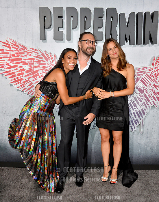 "LOS ANGELES, CA. August 28, 2018: Jennifer Garner, Annie Ilonzeh & Pierre Morel at the world premiere of ""Peppermint"" at the Regal LA Live."