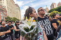 New York, NY, USA - New Yorkers gathered in Union Square tostand in solidarity with the people of Charlottesville, VA, condem the Alt Right, facism, and President Donald Trump. The crowd acticvists from Democratic Socialists, Black Lives Matter, the ACLU and other groups. ©Stacy Walsh Rosenstock