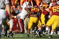 6 October 2007: Pannel Egboh during Stanford's 24-23 win over the #1 ranked USC Trojans in the Los Angeles Coliseum in Los Angeles, CA.