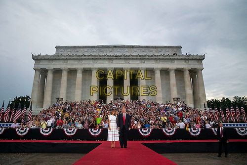 "U.S. President Donald Trump and First Lady Melania Trump arrive during the Fourth of July Celebration 'Salute to America' event in Washington, D.C., U.S., on Thursday, July 4, 2019. The White House said Trump's message won't be political -- Trump is calling the speech a ""Salute to America"" -- but it comes as the 2020 campaign is heating up. <br /> h<br /> CAP/MPI/CNP<br /> ©CNP/MPI/Capital Pictures"