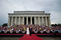 """U.S. President Donald Trump and First Lady Melania Trump arrive during the Fourth of July Celebration 'Salute to America' event in Washington, D.C., U.S., on Thursday, July 4, 2019. The White House said Trump's message won't be political -- Trump is calling the speech a """"Salute to America"""" -- but it comes as the 2020 campaign is heating up. <br /> h<br /> CAP/MPI/CNP<br /> ©CNP/MPI/Capital Pictures"""