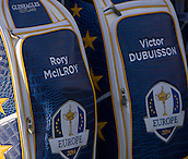 23.09.2014. Gleneagles, Auchterarder, Perthshire, Scotland.  The Ryder Cup.  Rory McIlroy's & Victor Dubuisson's Team Europe Ryder cup bags during the team photo call.