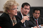 Las Vegas Mayor Carolyn Goodman testifies in committee at the Legislative Building in Carson City, Nev., on Wednesday, Feb. 27, 2013. Redevelopment director William Arent, center, and Ted Olivas also testified..Photo by Cathleen Allison