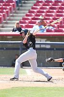 Kyle Petty (44) of the Bakersfield Blaze bats during a game against the High Desert Mavericks at Mavericks Stadium on May 18, 2015 in Adelanto, California. High Desert defeated Bakersfield, 7-6. (Larry Goren/Four Seam Images)