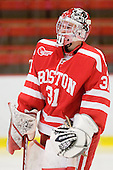Kieran Millan (BU - 31) - The Boston University Terriers defeated the Harvard University Crimson 6-5 in overtime on Tuesday, November 24, 2009, at Bright Hockey Center in Cambridge, Massachusetts.