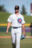 Mesa Solar Sox relief pitcher Bailey Clark (35), of the Chicago Cubs organization, walks off the field between innings of an Arizona Fall League game against the Glendale Desert Dogs at Sloan Park on October 27, 2018 in Mesa, Arizona. Glendale defeated Mesa 7-6. (Zachary Lucy/Four Seam Images)