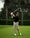 TAIPEI, TAIWAN - NOVEMBER 19:  Doug Johnshon of USA plays his second shot on the 4th hole during day two of the Fubon Senior Open at Miramar Golf & Country Club on November 19, 2011 in Taipei, Taiwan.  Photo by Victor Fraile / The Power of Sport Images