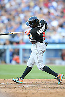 05/13/15Miami Marlins second baseman Dee Gordon #9 during an MLB game played at Dodger Stadium between the Miami Marlins and The Los Angeles Dodgers. The Marlins defeated the Dodgers 5-4