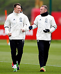 Wayne Rooney of Manchester United talks with Phil Jones during the Manchester United open training session at the Carrington Training Centre, Manchester. Picture date: May 19th 2017. <br /> Pic credit should read: Matt McNulty/Sportimage