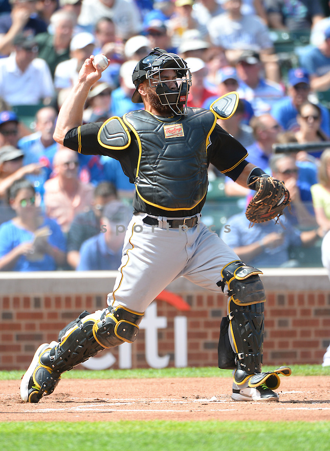 Pittsburgh Pirates Russell Martin (55) during a game against the Chicago Cubs on September 5, 2014, at Wrigley Field in Chicago, IL. The Pirates beat the Cubs 5-3.