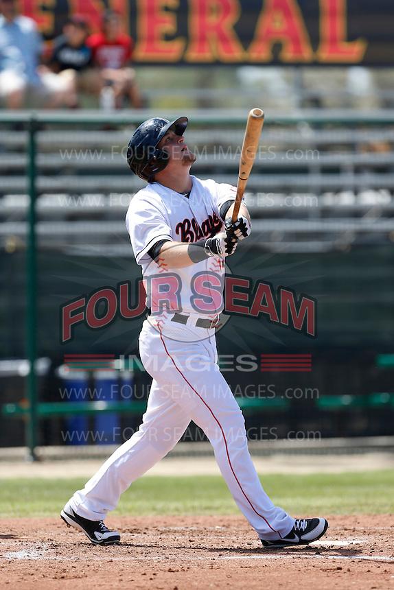 Kyle Waldrop # #3 of the Bakersfield Blaze bats against the San Jose Giants at Sam Lynn Ballpark on August 4, 2013 in Bakersfield, California. San Jose defeated Bakersfield, 7-4. (Larry Goren/Four Seam Images)