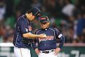 (L to R) .Masahiro Tanaka (JPN), . Osamu Higashio (JPN), .MARCH 6, 2013 - WBC : .2013 World Baseball Classic .1st Round Pool A .between Japan 3-6 Cuba .at Yafuoku Dome, Fukuoka, Japan. .(Photo by YUTAKA/AFLO SPORT) [1040]