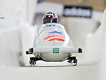 17 December 2010:  Helen Upperton pilots her 2-man bobsled for Canada, finishing 4th for the day at the Viessmann FIBT World Cup Bobsled Championships in Lake Placid, New York, USA. The event was a Make-up Race from the previous week at Park City where the Women's Bobsled had to be cancelled due to severe snow conditions. Mandatory Credit: Ed Wolfstein Photo