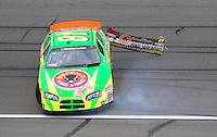 Oct. 3, 2009; Kansas City, KS, USA; NASCAR Nationwide Series driver Patrick Sheltra (81) spins during the Kansas Lottery 300 at Kansas Speedway. Mandatory Credit: Mark J. Rebilas-