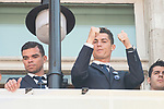 Real Madrid's Pepe and Cristiano Ronaldo on the balcony of the Seat of government greeting the fans in Madrid, May 22, 2017. Spain.<br /> (ALTERPHOTOS/BorjaB.Hojas)