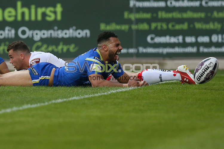 Picture by Paul Currie/SWpix.com - 03/06/2016 - Rugby League - First Utility Super League - St Helens v Warrington Wolves - Langtree Park, St Helens, England - Warrington Wolves' Ryan Atkins celebrates scoring the 3rd try