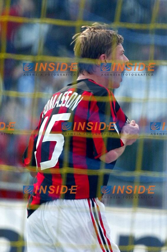 Modena 4/4/2004 Campionato Italiano Serie A 28a Giornata - Matchday 28<br /> Modena Milan 1-1<br /> Jon Dahl Tomasson festeggia il gol del vantaggio del Milan.<br /> Jon Dahl Tomasson celebrates goal of 1-0 for Milan<br /> Foto Andrea Staccioli Insidefoto