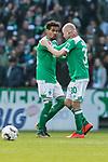13.04.2019, Weserstadion, Bremen, GER, 1.FBL, Werder Bremen vs SC Freiburg<br /> <br /> DFL REGULATIONS PROHIBIT ANY USE OF PHOTOGRAPHS AS IMAGE SEQUENCES AND/OR QUASI-VIDEO.<br /> <br /> im Bild / picture shows<br /> Theodor Gebre Selassie (Werder Bremen #23) bejubelt 1:0 mit Torsch&uuml;tze Davy Klaassen (Werder Bremen #30), <br /> <br /> Foto &copy; nordphoto / Ewert