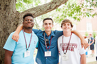 From left, Mississippi State incoming freshmen Reginald H. &quot;Reggie&quot; Collier, a geoscience major from Flowood; Colin Draving, a marketing/PGA Golf Management major from Lantana, Texas; and Legare Grimball, a business administration major from Greenville, South Carolina, smile for the camera while taking a snack break on the Drill Field during Freshman Orientation. Organized by the university's Office of Admissions and Scholarships, orientation sessions are designed to welcome the newest members of the Bulldog family to their home away from home. Incoming students and their families are learning all about what MSU's beautiful campus and the Starkville community have to offer.<br />