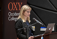 "Michelle St. Louis '19 reads<br /> Occidental College's 3rd LA (Re)Designing LA series concludes in Choi Auditorium at Occidental College on April 17, 2019. Hosted by Oxy Professor of Practice and Chief Design Officer for the City of Los Angeles Christopher Hawthorne, guest speakers and panelists discussed ""Turn Off the Sunshine: Shade as an Equity Issue in a Warming Los Angeles.""<br /> 3rd LA is co-sponsored by Occidental, the Mayor's Office and the Los Angeles Department of Cultural Affairs.<br /> (Photo by Marc Campos, Occidental College Photographer)"