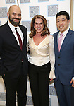 Justin Lee Miller, Rebecca Eichenberger and Raymond J. Lee attends the Camelot' Benefit Concert for Lincoln Center After Party at David Geffen Hall on March 4, 2019 in New York City.