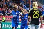 Solna 2015-08-31 Fotboll Damallsvenskan AIK - Eskilstuna United :  <br /> Eskilstunas Gaelle Enganamouit firar sitt 0-1 m&aring;l med Sofie Persson under matchen mellan AIK och Eskilstuna United <br /> (Foto: Kenta J&ouml;nsson) Nyckelord:  Damallsvenskan Allsvenskan Dam Damer Damfotboll Skytteholm Skytteholms IP AIK Gnaget Eskilstuna United jubel gl&auml;dje lycka glad happy