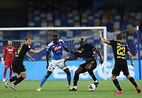 13th June 2020; Stadio San Paolo, Naples, Campania, Italy; Coppa Italia Football, Napoli versus Inter Milan; Romelu Lukaku of Inter shileds the ball as Kalidou Koulibaly of Napoli pulls on his shirt