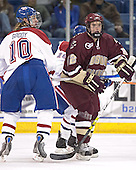 Elias Godoy, Dan Bertram - The Boston College Eagles defeated the University of Massachusetts-Lowell River Hawks 4-3 in overtime on Saturday, January 28, 2006, at the Paul E. Tsongas Arena in Lowell, Massachusetts.