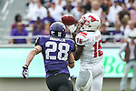 Southern Methodist Mustangs wide receiver Jeremy Johnson (15) in action during the game between the SMU Mustangs and the TCU Horned Frogs at the Amon G. Carter Stadium in Fort Worth, Texas. TCU defeats SMU 48 to 17.