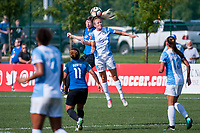 Kansas City, MO - Wednesday August 16, 2017: Becca Moros, Rachel Hill during a regular season National Women's Soccer League (NWSL) match between FC Kansas City and the Orlando Pride at Children's Mercy Victory Field.