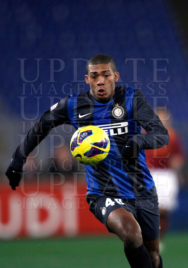 Calcio, semifinale di andata di Coppa Italia: Roma vs Inter. Roma, stadio Olimpico, 23 gennaio 2013..FC Inter defender Juan Jesus, of Brazil, in action during the Italy Cup football semifinal first half match between AS Roma and FC Inter at Rome's Olympic stadium, 23 January 2013..UPDATE IMAGES PRESS/Isabella Bonotto