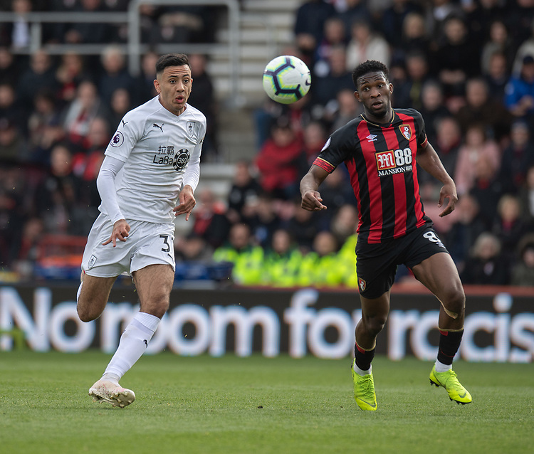 Bournemouth's Jefferson Lerma (right) under pressure from Burnley's Dwight McNeil (left) <br /> <br /> Photographer David Horton/CameraSport<br /> <br /> The Premier League - Bournemouth v Burnley - Saturday 6th April 2019 - Vitality Stadium - Bournemouth<br /> <br /> World Copyright © 2019 CameraSport. All rights reserved. 43 Linden Ave. Countesthorpe. Leicester. England. LE8 5PG - Tel: +44 (0) 116 277 4147 - admin@camerasport.com - www.camerasport.com