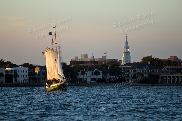 Schooner Pride Tallship off the Charleston Battery in South Carolina Sunset