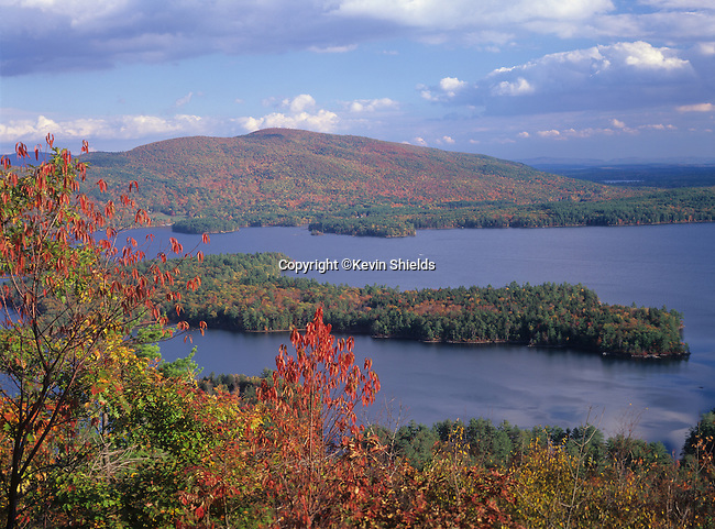 View of Squam Lake and Red Hill from the West Rattlesnake Mountain Natural Area, Holderness, New Hampshire, USA