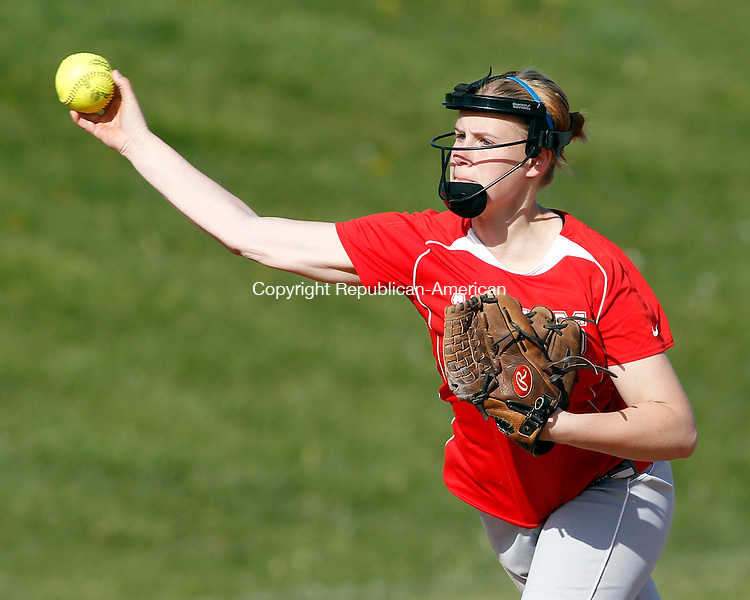 Southbury, CT-13 April 2012-041312CM06-  Pomperaug's Bridgette Skinski makes a throw to home during their 4-1 win over Oxford Friday afternoon in Southbury.   Christopher Massa Republican-American