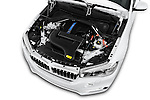 Car Stock 2017 BMW X5 xDrive40e 5 Door SUV Engine  high angle detail view