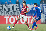 Suwon Midfielder Lee Yongrae (R) fights for the ball with Guangzhou Midfielder Zheng Zhi (L) during the AFC Champions League 2017 Group G match Between Suwon Samsung Bluewings (KOR) vs Guangzhou Evergrande FC (CHN) at the Suwon World Cup Stadium on 01 March 2017 in Suwon, South Korea. Photo by Victor Fraile / Power Sport Images