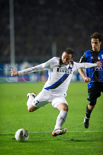 "10.26.2011. Bergamo, Italy.  Giampaolo Pazzini (Inter)shoots. Italian ""Serie A"" match between Atalanta BC 1-1 Inter Milan  at Stadio Atleti Azzurri d'Italia in Bergamo, Italy.  Mandatory Credit: Actionplus"