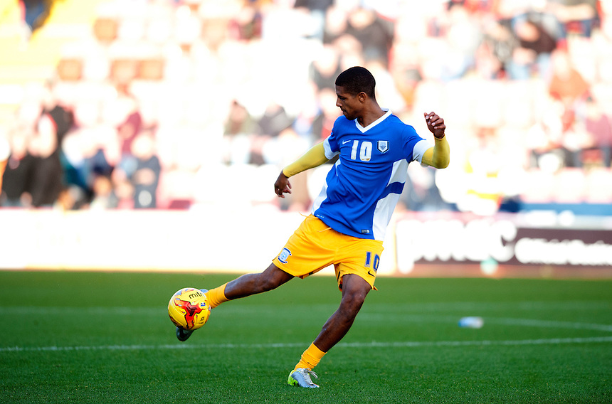 Preston North End's Jermaine Beckford during the pre-match warm-up <br /> <br /> Photographer Stephen White/CameraSport<br /> <br /> Football - The Football League Sky Bet League One - Bristol City v Preston North End - Saturday 22nd November 2014 - Ashton Gate - Bristol <br /> <br /> &copy; CameraSport - 43 Linden Ave. Countesthorpe. Leicester. England. LE8 5PG - Tel: +44 (0) 116 277 4147 - admin@camerasport.com - www.camerasport.com