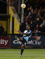 Anthony Stewart of Wycombe Wanderers clears the ball during the Sky Bet League 2 match between Cambridge United and Wycombe Wanderers at the R Costings Abbey Stadium, Cambridge, England on 1 March 2016. Photo by Andy Rowland / PRiME Media Images.