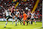 Jack O'Connell of Sheffield Utd attempts to meet a cross during the Championship League match at Bramall Lane Stadium, Sheffield. Picture date 19th August 2017. Picture credit should read: Simon Bellis/Sportimage